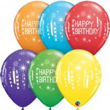 Birthday Candles & Starburst - 11 Inch Balloons 25pcs